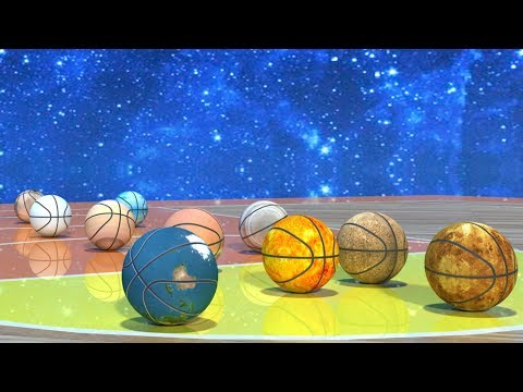 Playing NBA Basketball Games with Solar System Planets and The Sun Learn Planets for Kids