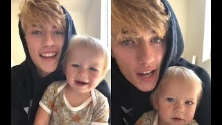 Lucky Blue Smith and his daughter Gravity | Instagram Live Stream | 14 August, 2018 ラッキーブルースミス 検索動画 3