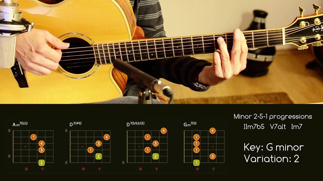 Guitar Chord Progressions Minor 2 5 1 Iim7b5 V7alt Im7 Youtube