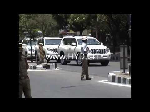 Indian President Shri Pranab Mukherjee convoy at Osmania University Centenary Hyderabad India