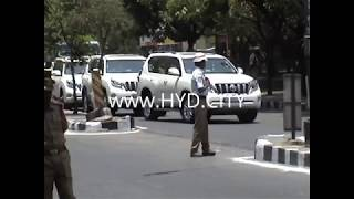 Indian presidents convoy in Hyderabad  with CM KCR for OU Centenary Celebrations