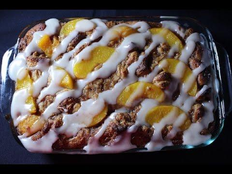 Peach Cobbler Bread Pudding Recipe - I Heart Recipes