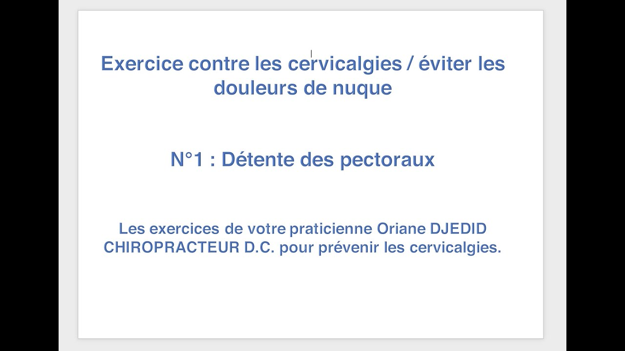 Exercices complets pour soulager le cou / Cervicalagies. n°1