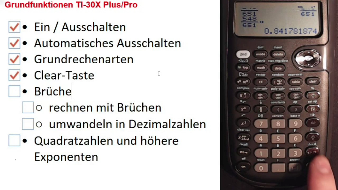 Ii 05 Taschenrechner Ti 30x Pluspro Youtube