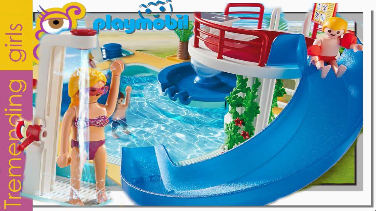 Playmobil piscina con tobog n trampol n y fuente de for Playmobil piscina con tobogan