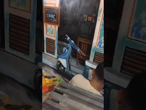 Vẽ tranh tường góc phố cũ 3D cho quán cafe, trà chanh tại Hà Đông, Hà Nội – Wall painting T–Art Ha N