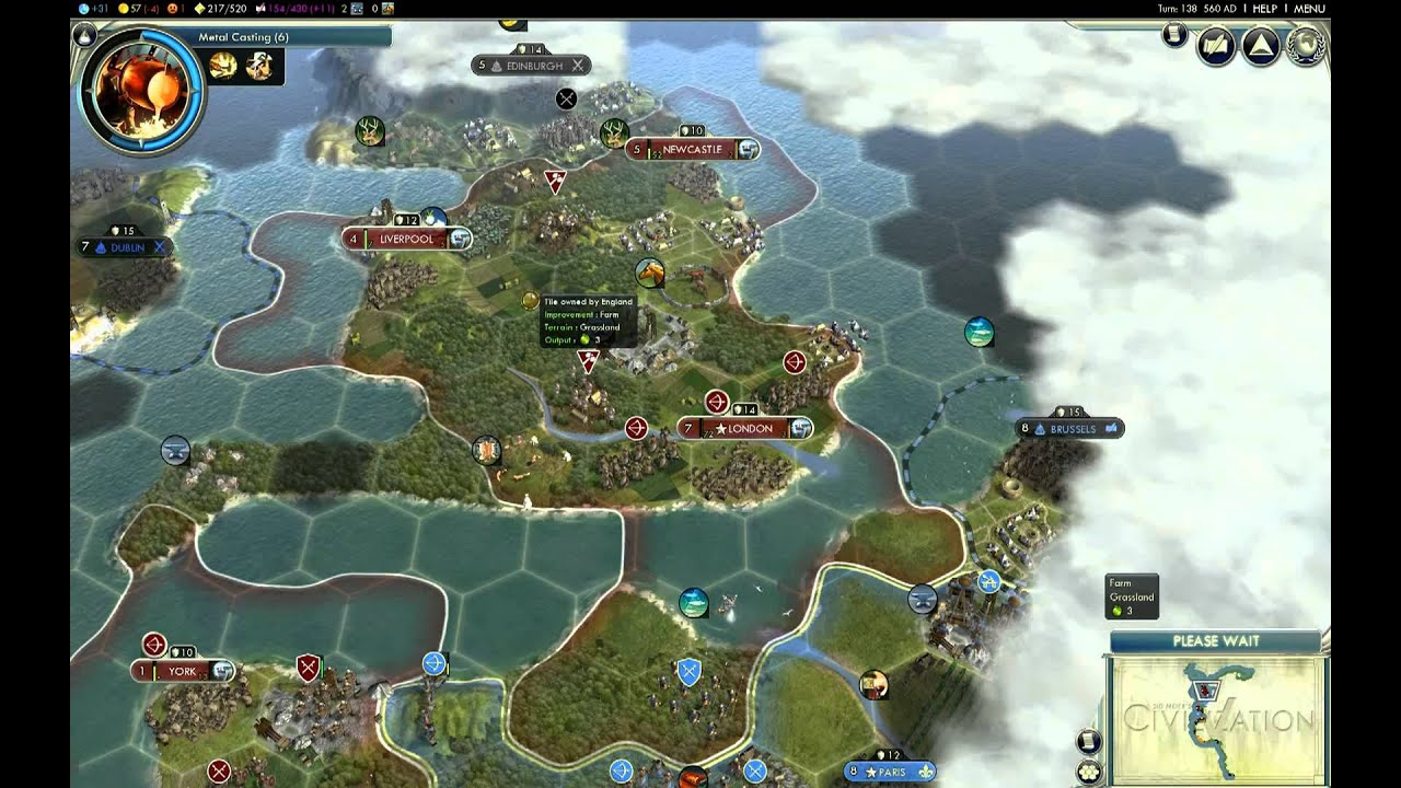 Let's Play Civ 5 England Giant Earth Map Episode 2 clip1 - YouTube on