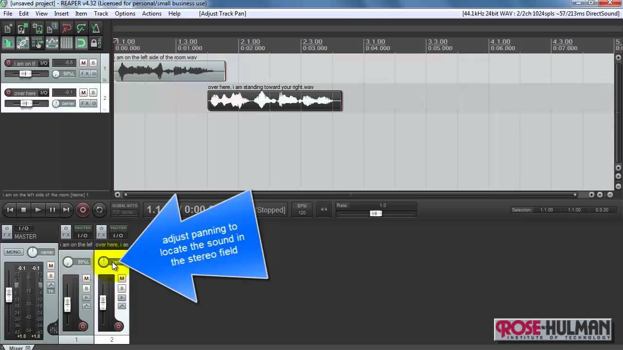 REAPER tutorial: Mix tracks, adjust level/pan, render to audio file