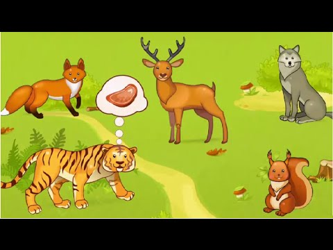Children Learn Animal Names, Favorite Foods Of Animal And Sounds with Cartoon Characters For Kids.