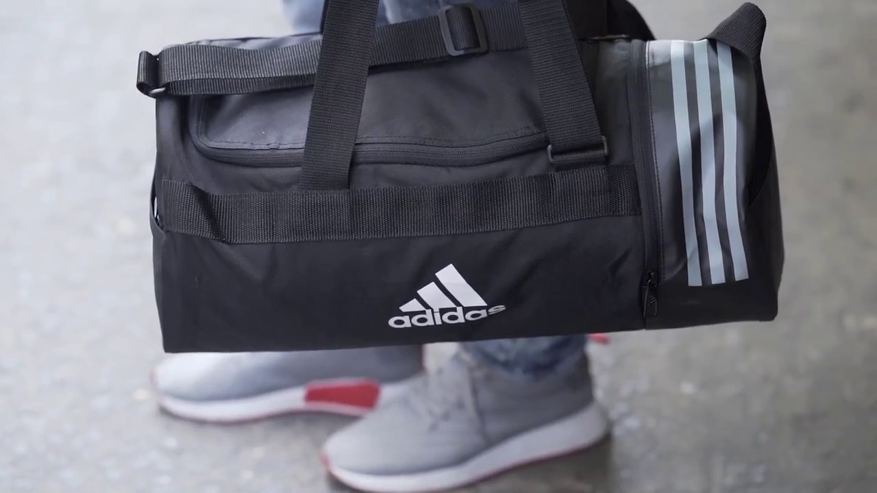 384378bf464c Adidas Convertible 3 Stripes Duffel Bag - YouTube