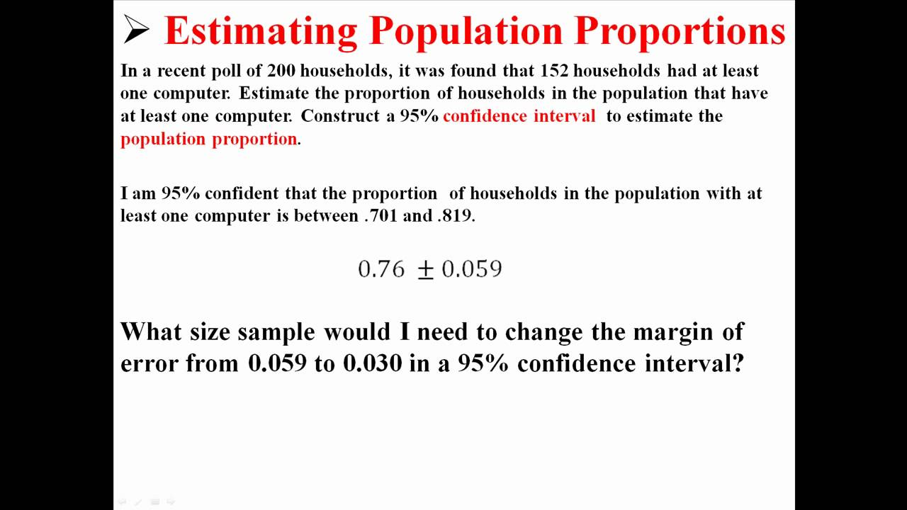 Calculating Required Sample Size To Estimate Population Proportions