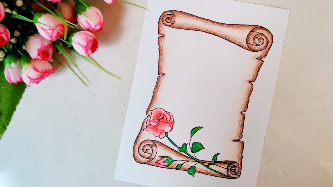 Paper Scroll Border Designs On Paper Front Page Cover Page Border Designs Borders For Project Youtube