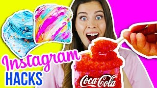 CRAZY INSTAGRAM FOOD HACKS & SNACKS im LIVE TEST! 🍭😨