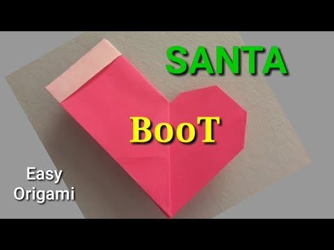 how to make origami santa boot - paper santa boot - easy origami