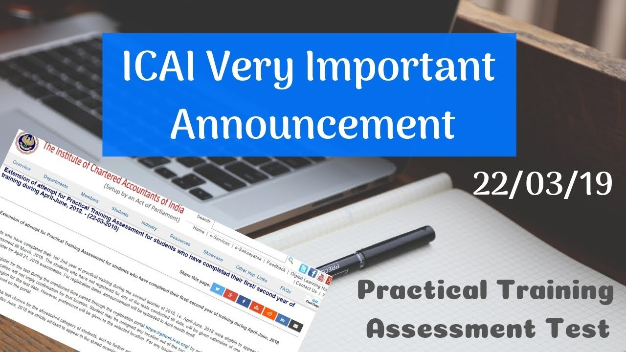 ICAI Announcement 22/03/2019 PT Test || Very Important for Some category of  Students