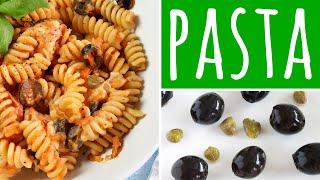Fusilli with Olives, Capers & Mozzarella - Vegetarian Pasta Recipe