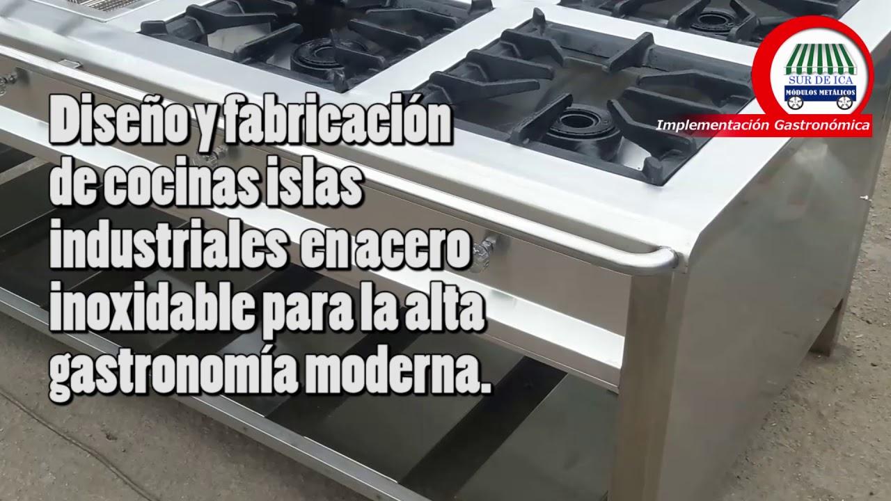 Cocina industrial isla en acero inoxidable - YouTube