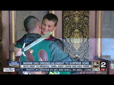 Marine dad dresses as a knight to surprise his sons