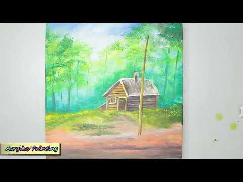 Acrylic Painting Techniques A Little House In The Forest