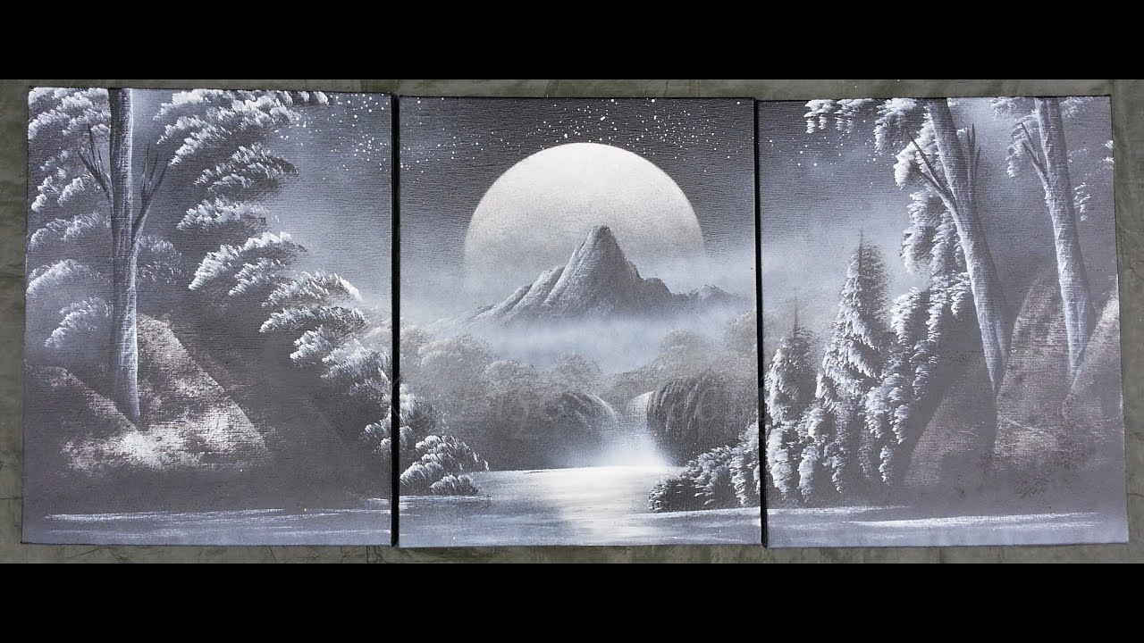 Spray Paint Art Black And White Nature Painting On