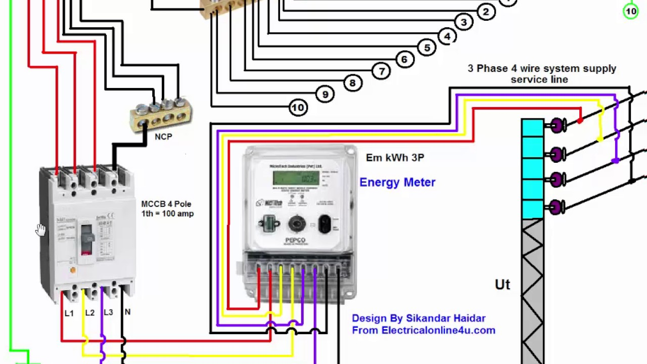 3 phase wiring installation in house 3 phase distribution board diagram urdu hindi [ 1280 x 720 Pixel ]
