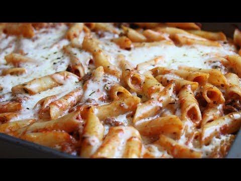 Запеканка из макарон с колбасой и помидорами