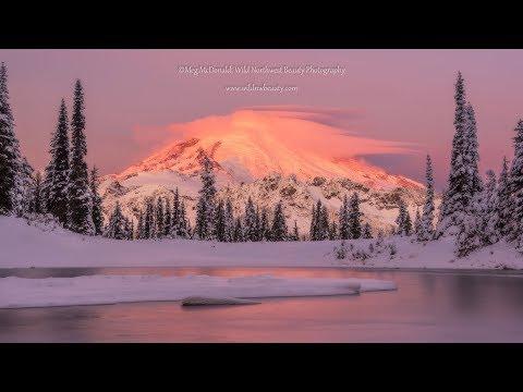 Moonrise, Sunrise: Mount Rainier and Lenticular Clouds (4K/HD Time Lapse)