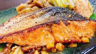 鮭のスタミナ焦がし味噌バター焼き|こっタソの自由気ままに【Kottaso Recipe】さんのレシピ書き起こし