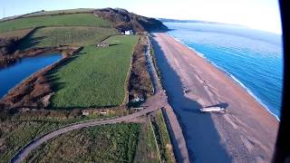 Aerial video fpv test and range test at Beesands, South Devon, UK. ...
