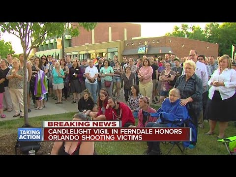 Dozens attend candlelight vigil Sunday night in Ferndale for victims of Orlando shooting