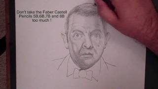 How to draw Johnny English / Rowan Atkinson / Mr. Bean with FaberCastell Pencils by Peter Schunk