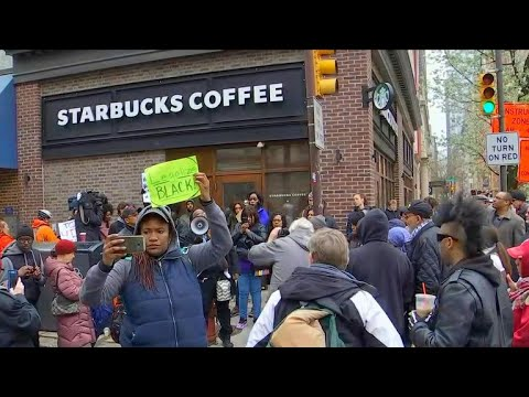 Protesters swarm Starbucks after two black men arrested