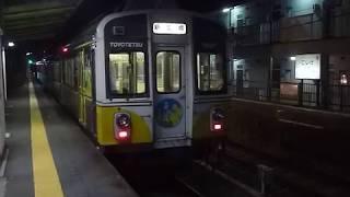[東急7200系第2の人生/警笛3回あり]豊橋鉄道渥美線1800系(菜の花編成)小池駅到着