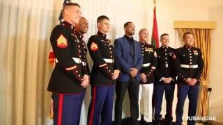 Will Smith welcomes US Marines ‪in Dubai!