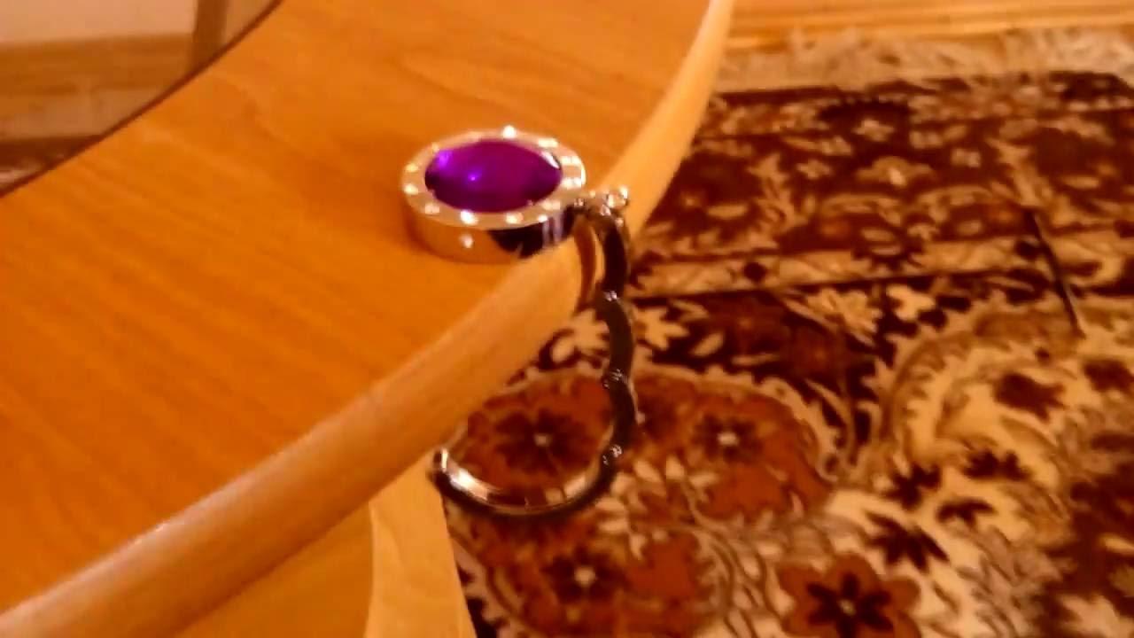 Stylish Folding Rhinestone Crystal Handbag Purse Bag Holder Table Hanger  Hook 25 Pounds Bearing