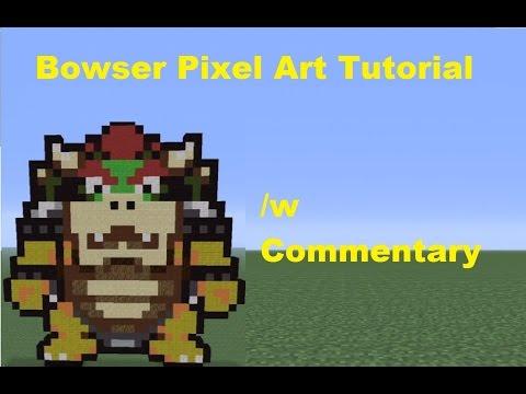 Minecraft Pixel Art Bowser Tutorial Super Mario Bros