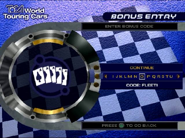 TOCA World Touring Cars unlock all cars (ps one)