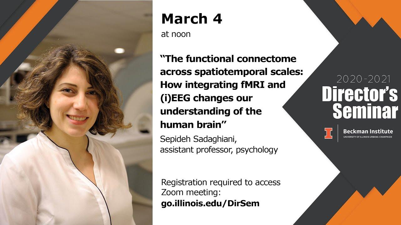 A screenshot from Beckman Director's Seminar: Sepideh Sadaghiani
