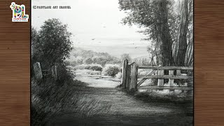 How to draw scenery art with beautiful light and shadow with pencil || Latest landscape art