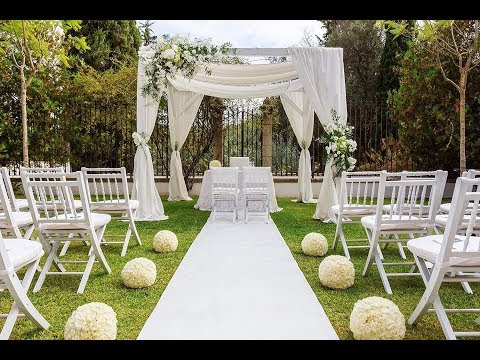 Wedding Aisle Runner White Scroll Print Indoor Outdoor 100 Foot Roll with Pull Cord