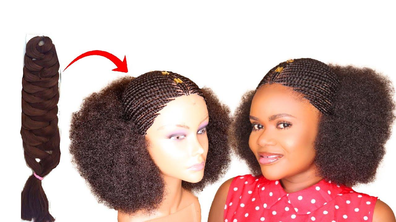 DIY Afro Braided Wig Using Expression Braid Extension- No Closure Wig