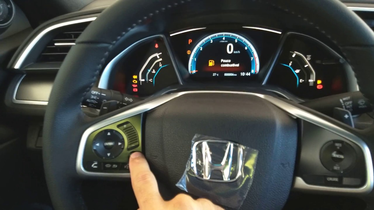 Novo Honda Civic EXL - Básico do painel de instrumentos - YouTube