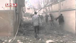 Syria | Douma | MiG Fighter Jets Bombardment on Alob Area | February 17, 2013