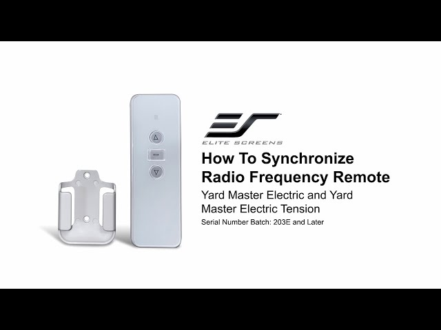Elite Screens: How to Synchronize RF Remote to Yard Master Electric Screens