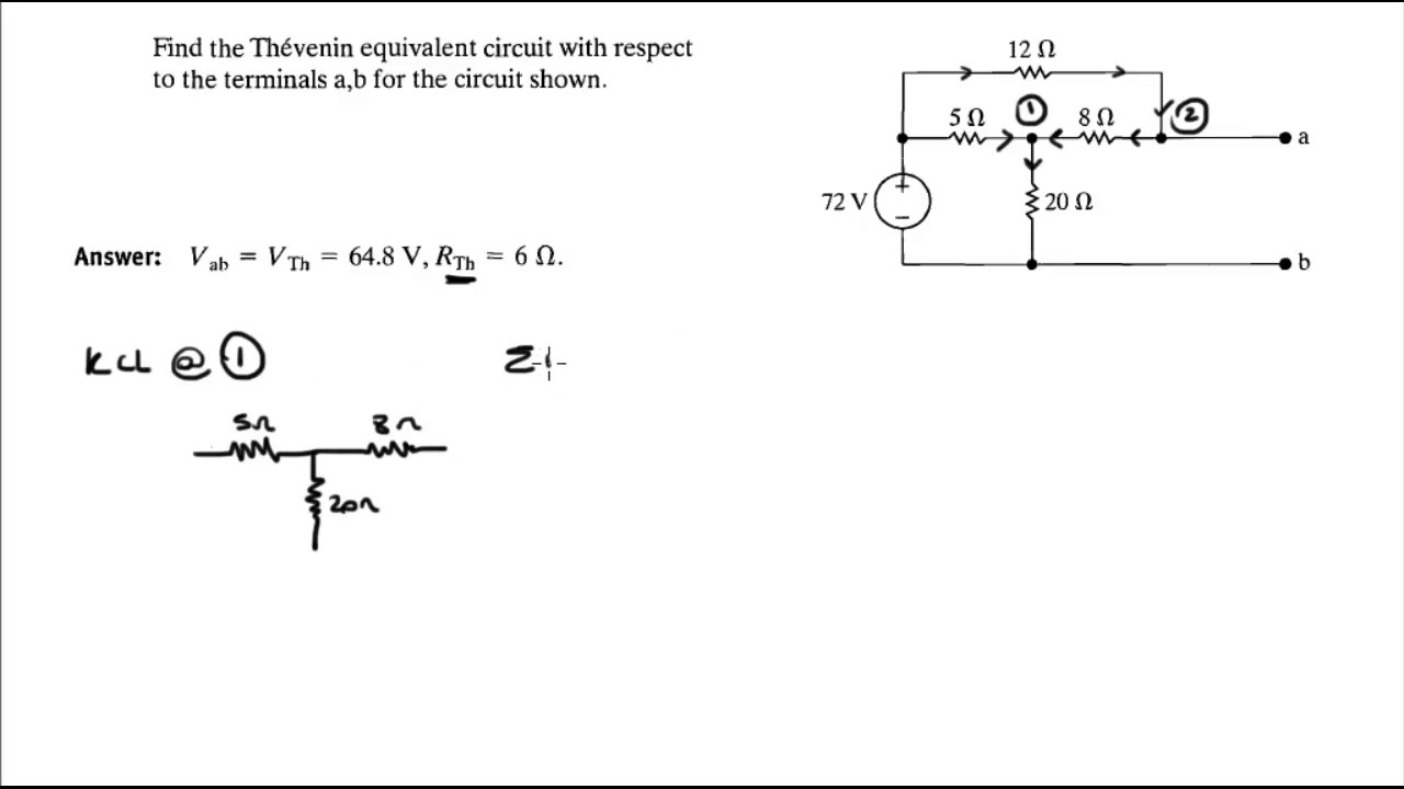 find the thevenin equivalent circuit with respect to the terminals a