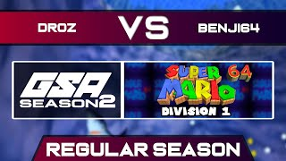 droz vs benji64 | Regular Season | GSA SM64 70 Star Speedrun League D1 Season 2