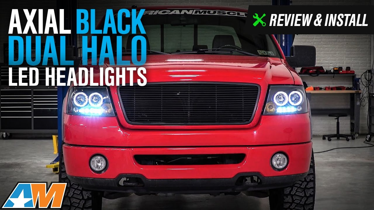 medium resolution of 2004 2008 f 150 axial black dual halo led projector headlights review install