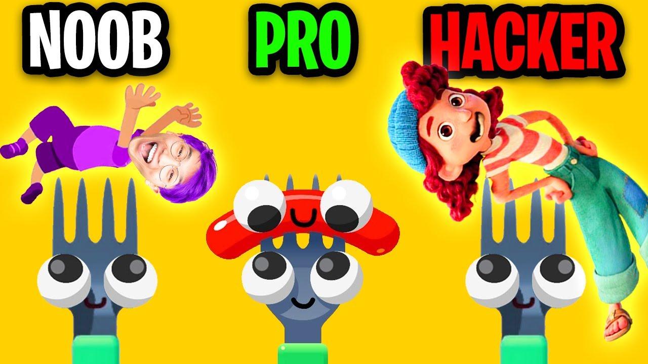 NOOB vs PRO vs HACKER In FORK N SAUSAGE!? (ALL LEVELS!)
