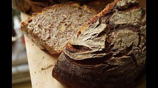 Пшенично ржаной хлеб на закваске с грецкими орехами Дж Хамельман