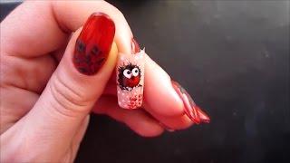 Простой рисунок на ногтях. Птичка